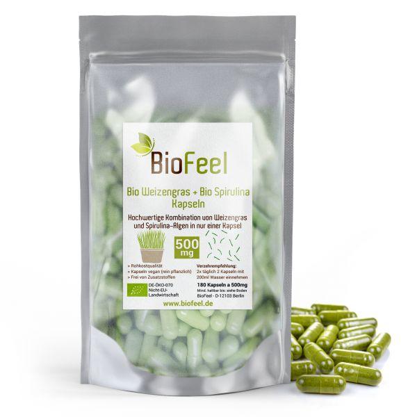 Bio Weizengras / Spirulina Mix Kapseln, 180 Stk., 500mg