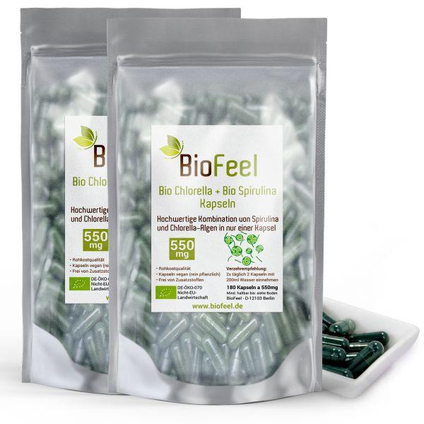 Bio Spirulina / Chlorella Mix Kapseln, 360 Stk., 550mg